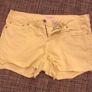 Neon yellow Levi denim shorts